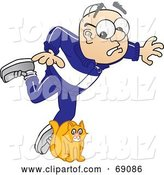 Vector Illustration of a Cartoon White Male Senior Citizen Mascot Tripping over a Cat by Toons4Biz