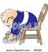 Vector Illustration of a Cartoon White Male Senior Citizen Mascot Tying His Shoe Laces by Toons4Biz