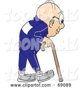 Vector Illustration of a Cartoon White Male Senior Citizen Mascot Using a Cane by Toons4Biz