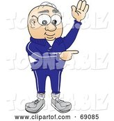 Vector Illustration of a Cartoon White Male Senior Citizen Mascot Waving and Pointing by Toons4Biz