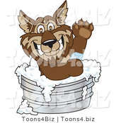 Vector Illustration of a Cartoon Wolf Mascot Bathing with Soap in a Metal Tub by Toons4Biz