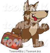 February 12nd, 2012: Vector Illustration of a Cartoon Wolf Mascot Carrying Luggage by Toons4Biz