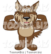 Vector Illustration of a Cartoon Wolf Mascot Flexing by Toons4Biz