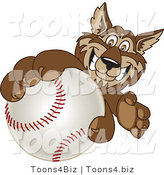 Vector Illustration of a Cartoon Wolf Mascot Grabbing a Baseball by Toons4Biz