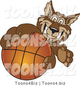 Vector Illustration of a Cartoon Wolf Mascot Grabbing a Basketball by Toons4Biz