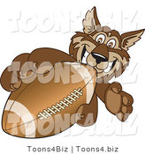 Vector Illustration of a Cartoon Wolf Mascot Grabbing a Football by Toons4Biz