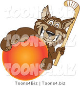 February 12nd, 2012: Vector Illustration of a Cartoon Wolf Mascot Grabbing a Hockey Ball by Toons4Biz