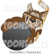 Vector Illustration of a Cartoon Wolf Mascot Grabbing a Hockey Puck by Toons4Biz