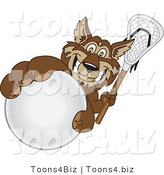 Vector Illustration of a Cartoon Wolf Mascot Grabbing a Lacrosse Ball by Toons4Biz