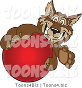 Vector Illustration of a Cartoon Wolf Mascot Grabbing a Red Ball by Toons4Biz