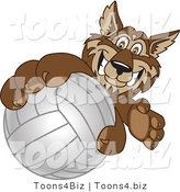 Vector Illustration of a Cartoon Wolf Mascot Grabbing a Volleyball by Toons4Biz