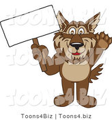 Vector Illustration of a Cartoon Wolf Mascot Holding a Blank Sign by Toons4Biz