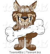 Vector Illustration of a Cartoon Wolf Mascot Holding a Bone by Toons4Biz