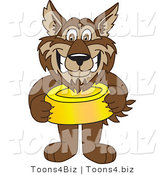 Vector Illustration of a Cartoon Wolf Mascot Holding a Food Bowl by Toons4Biz