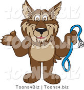 Vector Illustration of a Cartoon Wolf Mascot Holding a Leash by Toons4Biz