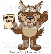 Vector Illustration of a Cartoon Wolf Mascot Holding a Report Card by Toons4Biz