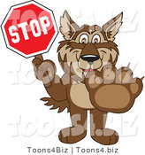 Vector Illustration of a Cartoon Wolf Mascot Holding a Stop Sign by Toons4Biz