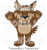 Vector Illustration of a Cartoon Wolf Mascot Holding His Paws up by Toons4Biz