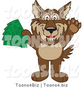 Vector Illustration of a Cartoon Wolf Mascot Holding Money by Toons4Biz