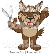 Vector Illustration of a Cartoon Wolf Mascot Holding Scissors by Toons4Biz
