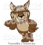 Vector Illustration of a Cartoon Wolf Mascot Leaning by Toons4Biz