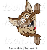 Vector Illustration of a Cartoon Wolf Mascot Looking Around a Blank Sign by Toons4Biz