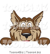 Vector Illustration of a Cartoon Wolf Mascot Looking over a Blank Sign by Toons4Biz