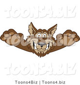 Vector Illustration of a Cartoon Wolf Mascot Lurching Forward by Toons4Biz
