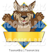 Vector Illustration of a Cartoon Wolf Mascot over a Blue Diamond and Blank Gold Banner by Toons4Biz