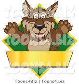 Vector Illustration of a Cartoon Wolf Mascot over a Green Diamond and Blank Gold Banner by Toons4Biz