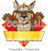 February 12nd, 2012: Vector Illustration of a Cartoon Wolf Mascot over a Red Diamond and Blank Gold Banner by Toons4Biz