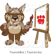Vector Illustration of a Cartoon Wolf Mascot Painting a Paw Print on Canvas by Toons4Biz