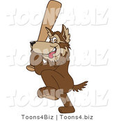 Vector Illustration of a Cartoon Wolf Mascot Playing Baseball by Toons4Biz