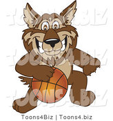 Vector Illustration of a Cartoon Wolf Mascot Playing Basketball by Toons4Biz