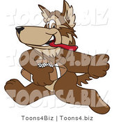Vector Illustration of a Cartoon Wolf Mascot Playing Football by Toons4Biz