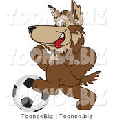 Vector Illustration of a Cartoon Wolf Mascot Playing Soccer by Toons4Biz