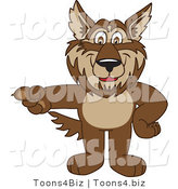 February 12nd, 2012: Vector Illustration of a Cartoon Wolf Mascot Pointing Left by Toons4Biz