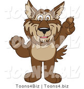 February 12nd, 2012: Vector Illustration of a Cartoon Wolf Mascot Pointing Upwards by Toons4Biz