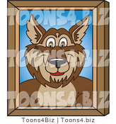 Vector Illustration of a Cartoon Wolf Mascot Portrait by Toons4Biz