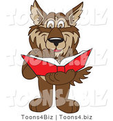 Vector Illustration of a Cartoon Wolf Mascot Reading a Book by Toons4Biz