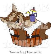 Vector Illustration of a Cartoon Wolf Mascot Relaxing in a Tub with a Drink on His Belly by Toons4Biz