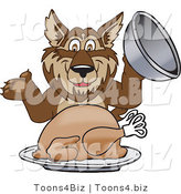Vector Illustration of a Cartoon Wolf Mascot Serving a Thanksgiving Turkey by Toons4Biz