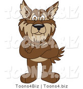 Vector Illustration of a Cartoon Wolf Mascot Standing with His Arms Crossed by Toons4Biz