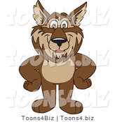 Vector Illustration of a Cartoon Wolf Mascot Standing with His Hands on His Hips by Toons4Biz