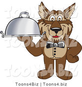 Vector Illustration of a Cartoon Wolf Mascot Waiter Serving a Platter by Toons4Biz