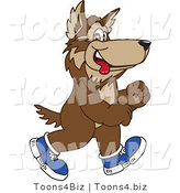 Vector Illustration of a Cartoon Wolf Mascot Walking in Shoes by Toons4Biz