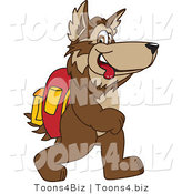 Vector Illustration of a Cartoon Wolf Mascot Walking to School by Toons4Biz