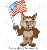 Vector Illustration of a Cartoon Wolf Mascot Waving an American Flag by Toons4Biz
