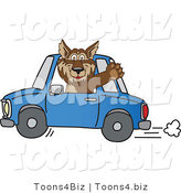 February 12nd, 2012: Vector Illustration of a Cartoon Wolf Mascot Waving and Driving a Car by Toons4Biz