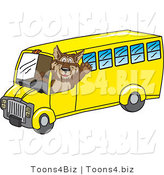 Vector Illustration of a Cartoon Wolf Mascot Waving and Driving a School Bus by Toons4Biz